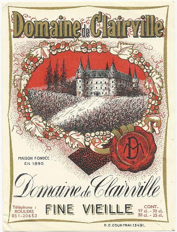 Vintage French Wine Label for Domaine de Clairville, Fine Vieille