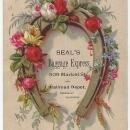 Victorian Trade Card for Seal's Baggage Express with Horseshoe and Flowers