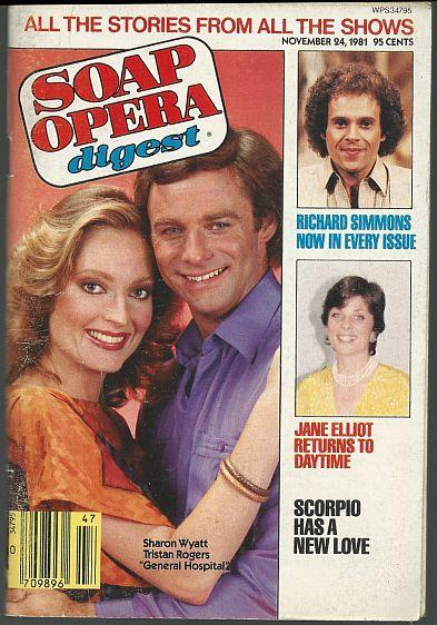 Soap Opera Digest Magazine November 24, 1981 Sharon Wyatt and Tristan Rogers GH