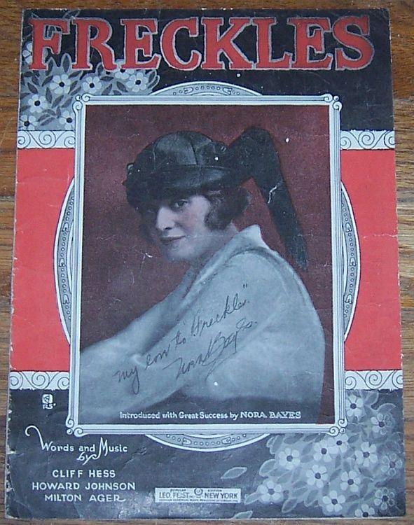 Freckles Introduced by by Nora Bayes 1919 Sheet Music