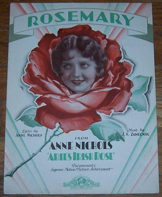 Rosemary From Abbie's Irish Rose Starring Anne Nicholas 1928 Sheet Music