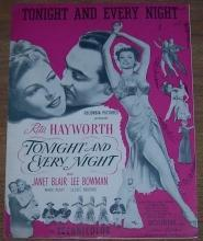 Tonight and Every Night From the Movie  Starring Rita Hayworth 1945 Sheet Music