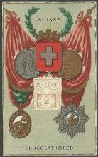 Victorian Trade Card for Chocolat Ibled with Stamp, Crest and Flag for Suisse