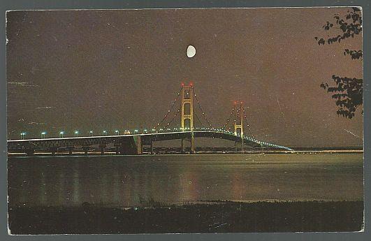 Vintage Unused Postcard of The Mackinac Bridge at Night, Michigan
