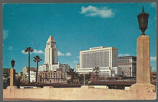 Vintage Postcard of Los Angeles Civic Center Skyline, Los Angeles, California