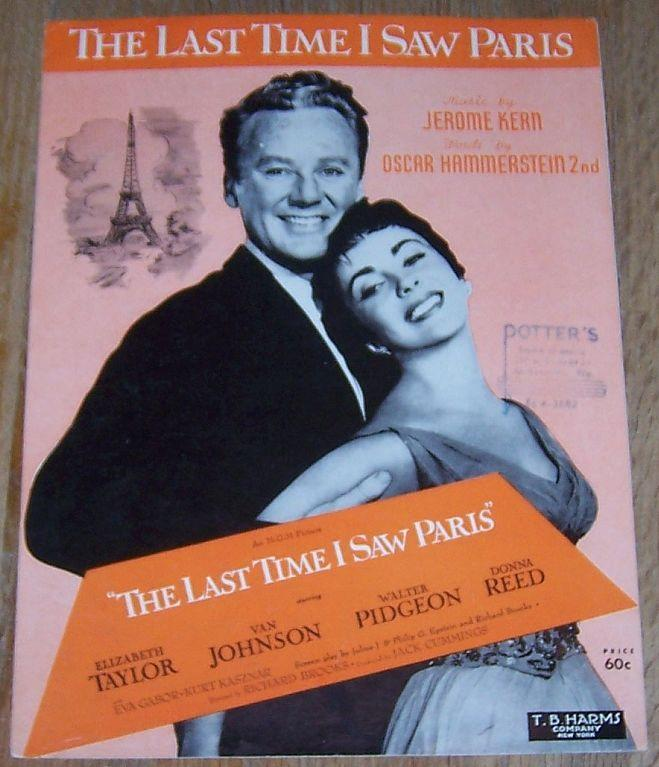Last Time I Saw Paris Starring Elizabeth Taylor, Van Johnson 1940 Sheet Music