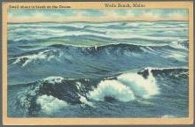 Vintage Postcard of Swells About to Break on the Ocean, Wells Beach, Maine 1951