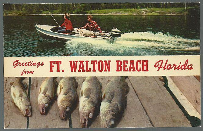 Unused Vintage Greetings Postcard from Ft. Walton Beach, Florida Fishing