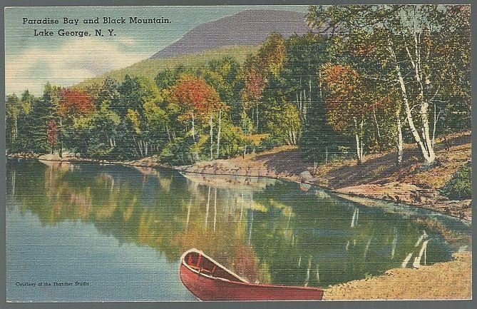 Unused Vintage Postcard Paradise Bay and Black Mountain, Lake George, New York
