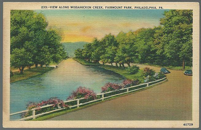 Vintage Postcard View Along Wissahickon Creek Fairmount Park Philadelphia Penn