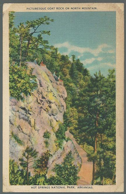 Unused Picturesque Postcard of Goat Rock, Hot Springs National Park, Arkansas
