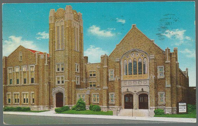 Vintage Postcard of Central Baptist Church, Broadway Quincy, Illinois 1974