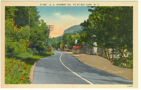 Postcard of US Highway No. 74 at Bat Cave, North Carolina