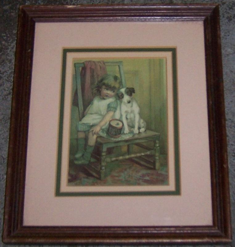 Vintage Framed Print of Little Girl with Her Dog Sitting on Chair with Toy Drum