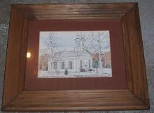 Vintage Framed Signed Sketch of Ridgeway Congregational Church, Conn RM Parker