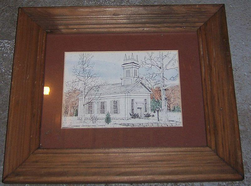 Vintage Framed Signed Sketch of Ridgeway Congregational Church, Conn RM Parker