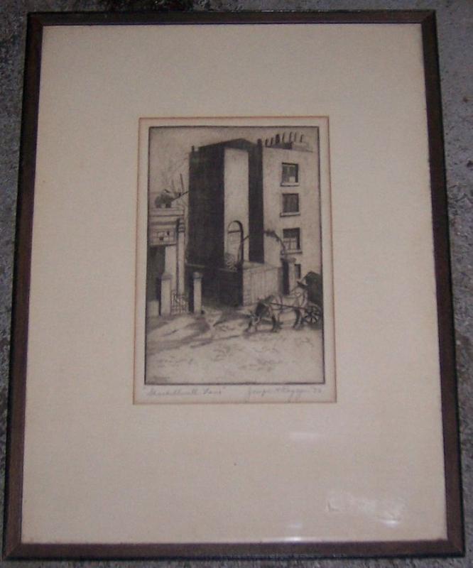 Vintage Framed Signed Sketch of Shackelwell Lane, London 1932