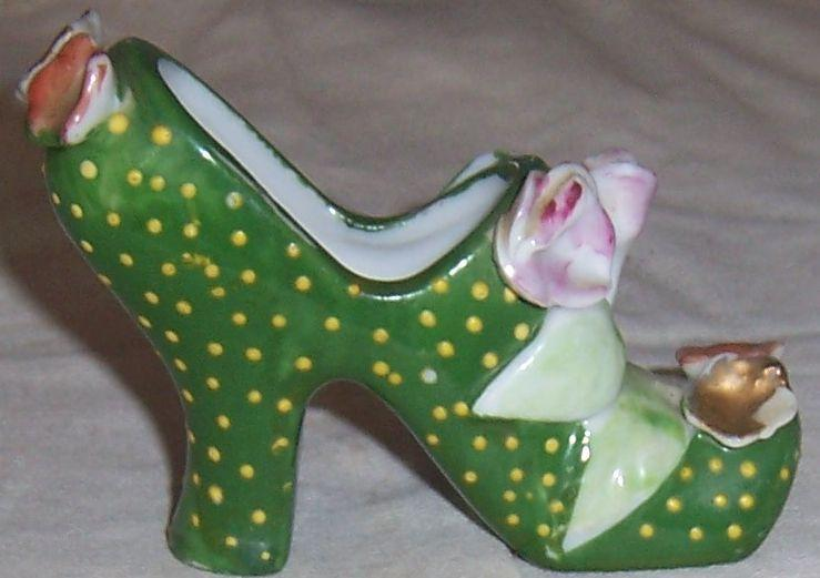 Vintage Japan Green High Heeled Shoe with Polka Dots and Flowers
