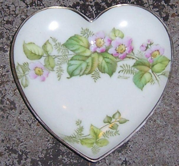 Vintage Handpainted Bavarian Heart Shaped Dish With Pink Flowers