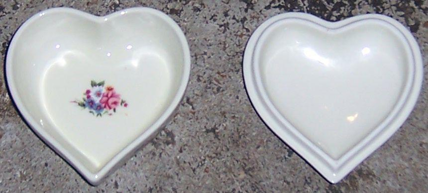 Vintage LW Rice Covered Heart Shaped Box With Pink and Blue Flowers on Lid