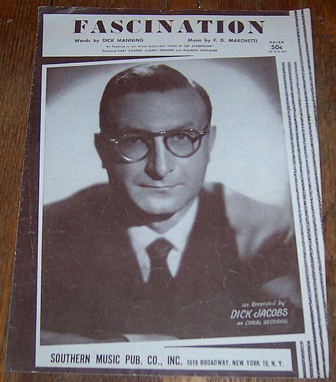 Fascination Recorded by Dick Jacobs 1954 Vintage Sheet Music