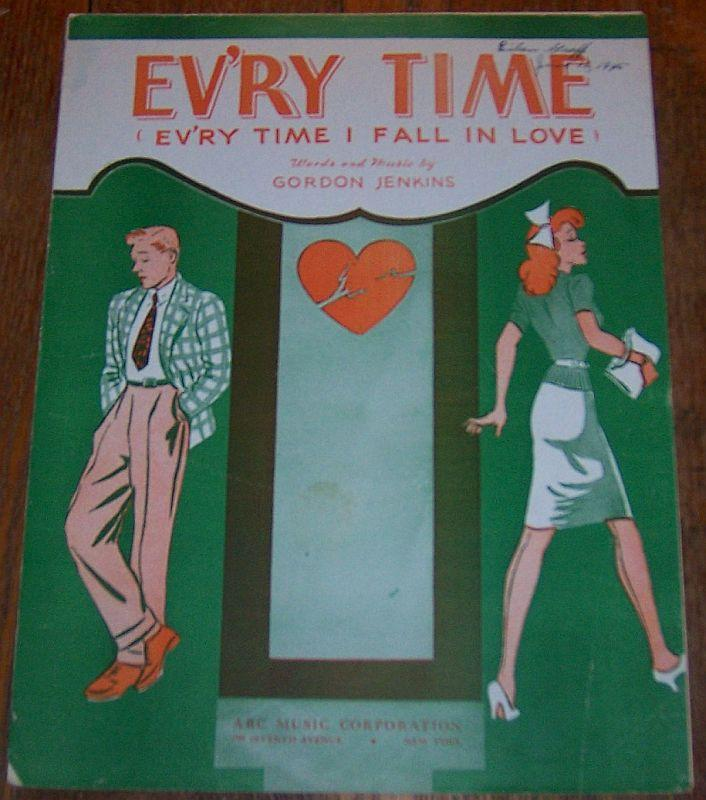 Ev'ry Time (Ev'ry Time I Fall in Love) 1944 Vintage Sheet Music