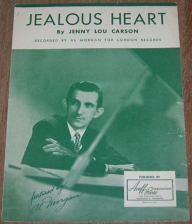 Jealous Heart Featured by Al Morgan 1944 Sheet Music Country Classic