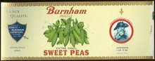 Burnham Brand Extra Small Sweet Peas Can Label