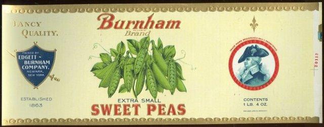 Burnham Brand Extra Small Sweet Peas Can Label