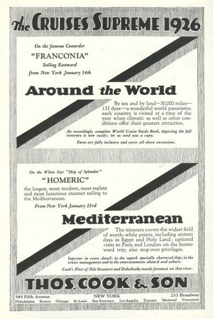 Thomas Cook 1926 Cruises Supreme 1925 Advertisement