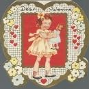 Heart Shaped Victorian Valentine Girl and Her Doll Dear Valentine Your Heart