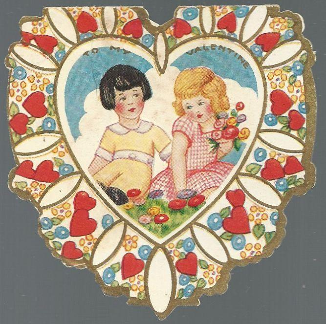 Heart Shaped Victorian Valentine with Girl and Boy To My Valentine Won My Heart