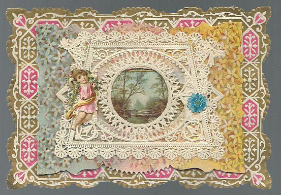Victorian Valentine Card with Landscape With Lacy Overlay and Cut Out