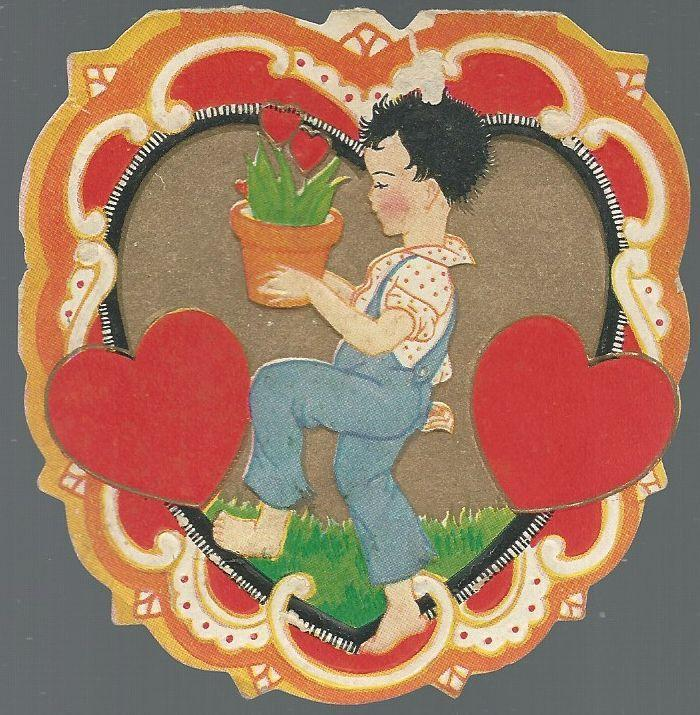 Vintage Heart Shaped Valentine with Boy Carrying Potted Plant and Hearts