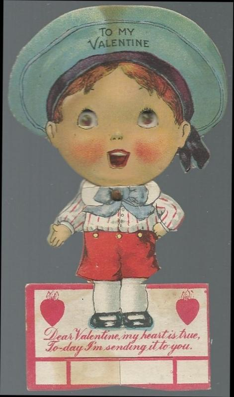 Vintage Mechanical Valentine Little Sailor Boy with Goggly Eyes To My Valentine