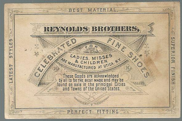 Victorian Trade Card Reynolds Brothers Fine Shoes with Baby on Beach w/Shell