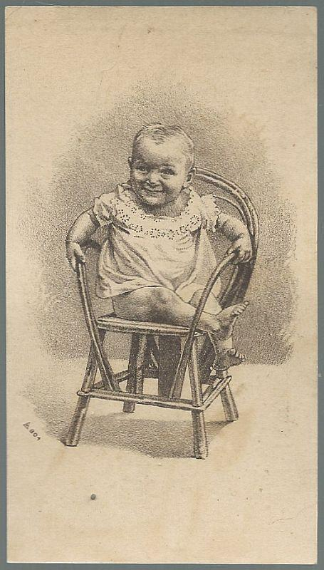 Victorian Trade Card for Polishine Household Cleaner with Baby in Chair