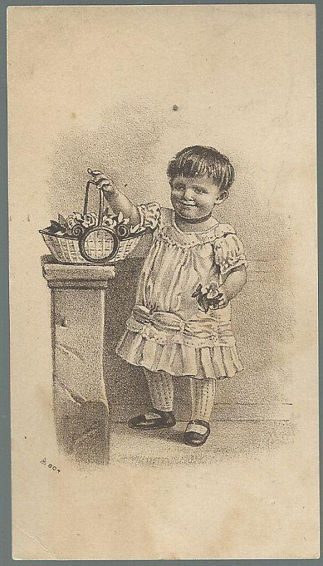 Victorian Trade Card for Polishine with Baby and Basket of Flowers