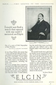 John Drew Elgin Watch 1925 Advertisement