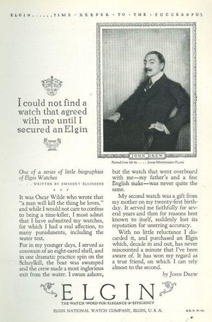 John Drew Elgin Watch 1925 Advertisement
