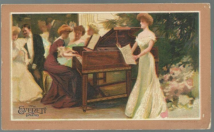 Victorian Trade Card for Everett Piano with Lovely Ladies at Singing Recital
