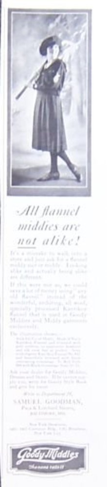 Goody Flannel Middies 1921 Magazine Advertisement