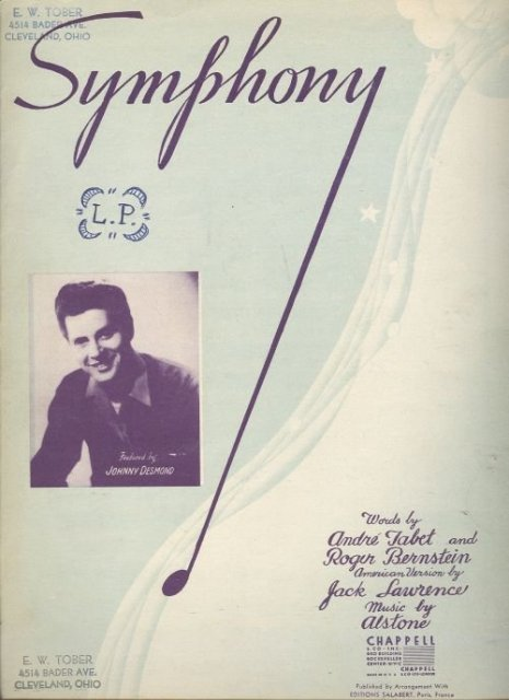 Symphony Featured by Johnny Desmond 1945 Sheet Music