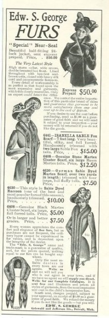 Edward S. George Furs 1901 Magazine Advertisement