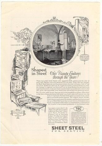 Sheet Steel for Household Equipment 1926 Advertisement