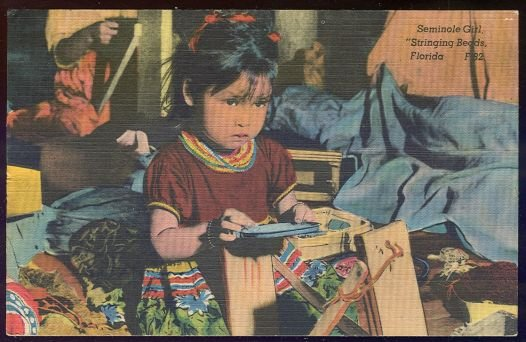 Postcard of Seminole Girl Stringing Beads, Florida