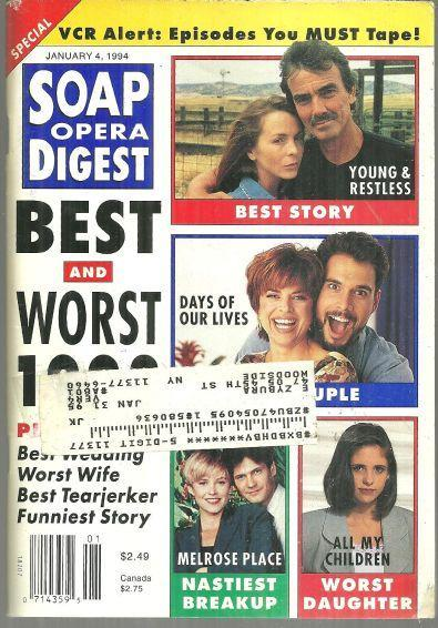 Soap Opera Digest Magazine January 4, 1994 Best and Worst of 1993 on Cover