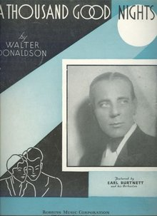 A Thousand Good Nights Featured by Earl Burtnett 1934 Sheet Music