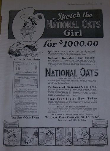 Sketch the National Oats Girl 1916 Advertisement