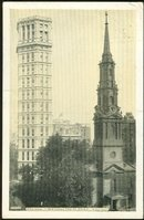 Postcard New York City Two St. Pauls Chapel and Building